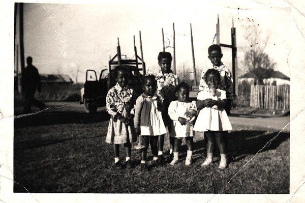 Vintage African American Photo Cute Group of Children Kids Old Black Americana