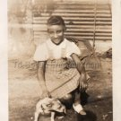 1940s Vintage Cute Young African-American Girl w/Dog Old Photo Black Children US