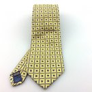 Men's Bachrach 100% Silk Tie Yellow Blue Squares Design New NWOT Necktie Y017