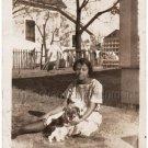 1930-40s Vintage Photo Pretty African-American Woman Grass w/Dog Black Americana