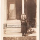 1930s Antique Woman Lady in Long Fur Coat Posing House Old Vintage Photo Mink
