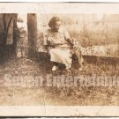 Antique African American Photo Pretty Woman with Dog Women Old Black Americana