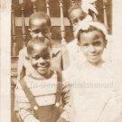 1935 Antique Photo of Four Cute African-American Children Black Girls Boys Kids