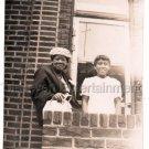 Vintage Cute African-American Girl w/Older Woman Window Photo Black Americana