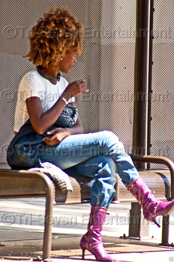 Sexy African-American Woman w/Afro & Purple Boots at Bus Stop Photo Black People