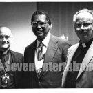 Vintage African American Old 5x7 Photo Man with Catholic Priests Black Americana