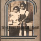 Antique African American Cabinet Card Old Photo Cute Children Black Americana