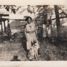 1936 Antique African-American Woman Loving Her Dog Photo Black People Original