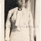 Antique Pretty African-American Woman Pondering Photo Black Americana Dress Hat