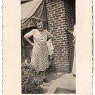 1950s Vintage Older African-American Woman By Brick House Photo Black Americana