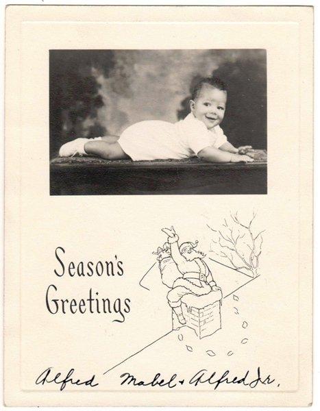Vintage African American Photo Adorable Baby Christmas Greeting Black Americana