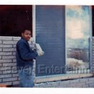 1970s Vintage African-American Man Laying Bricks Old Photo Black People Color US