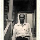 1940s Vintage Smiling African-American Man on Front Steps Photo Black People USA