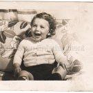 1940-1949 Vintage Happy Toddler Photo Baby American Kids Old Original B&W USA