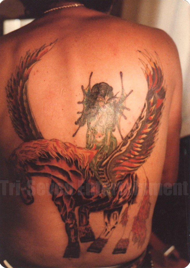 1980s Vintage Tattoo Photo Man Back Sexy Unicorn Body Art Design Tattooed Flash