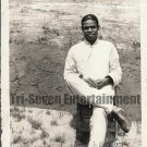 Vintage African American Photo Handsome Man Seated Old Black Americana Men
