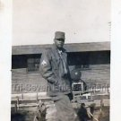 1940s African-American Man Soldier in Japan Photo Black People B&W Americana USA