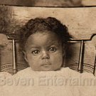 Antique Photo Adorable Cutest African American Little Baby Girl Black Americana