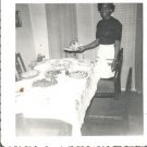 Vintage African American Photo Woman a/ Dining Table Pies Old Black Americana