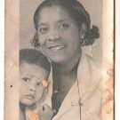 Vintage African American Photo Mother and Child Son Boy Kids Old Black Americana
