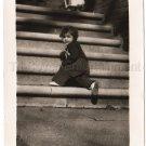 1940-1949 Vintage Adorable American Girl Poses On Steps Photo Original USA