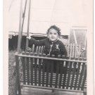 1940-1949 Vintage Adorable American Baby Girl Posing Backyard Swing Old Photo US