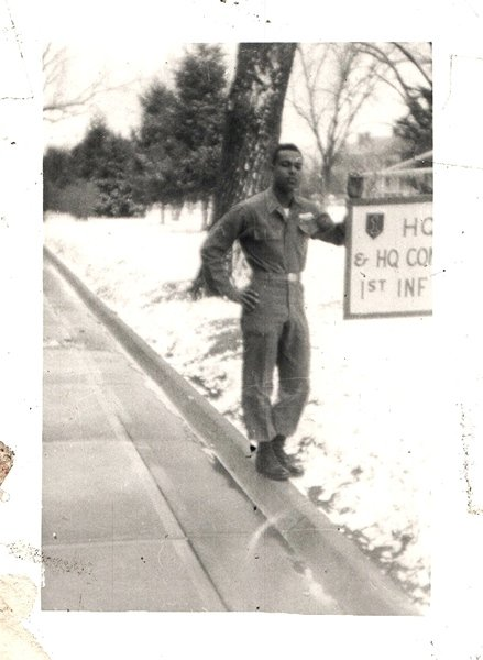 Vintage African American Photo Handsome Young Soldier Snow Old Black Americana