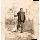 1920s African American Man in Woods w/Stick Old Antique Photo Black Americana