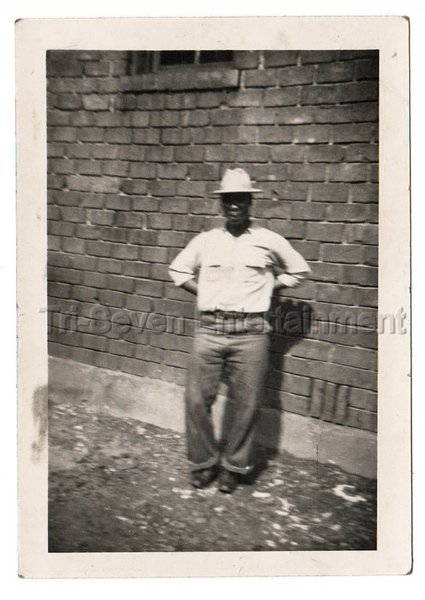 40s Vintage African American Man Men Hat Jeans Brick Wall Old Photo Black People