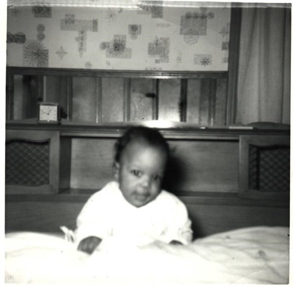 Vintage African American Photo Young Smiling Baby Posing Old Black Americana