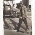1940-1949 Vintage Handsome African-American Man Walking Across Street Photo USA