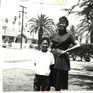 Vintage African American Photo Young Boy w/ Mother Children Old Black Americana