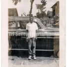 Vintage African American Photo Young Boy in Front of Car Old Black Americana