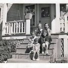 1936 Vintage American Children Posing in Front of House Old Girls Photo B&W USA