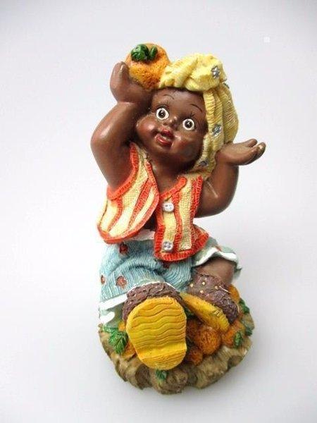 African-American Figurine Pretty Girl Child Black Americana Poly Resin Statue