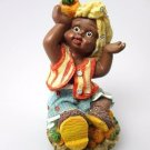 African-American Figurine Pretty Girl Child Black Americana Poly Resin Statue