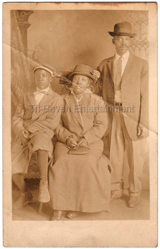 African American Family Man Woman Child Old Antique Real Photo Postcard RPPC