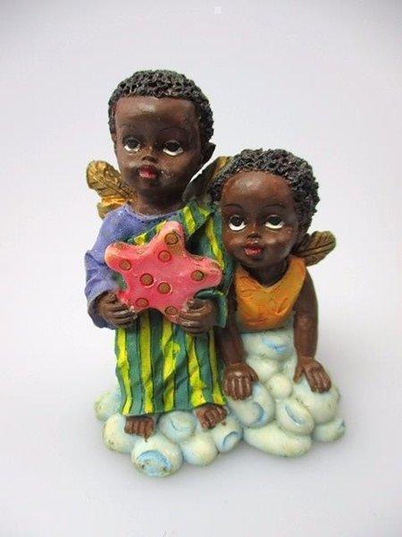 African-American Figurine Children Boy Girl Black Americana Poly Resin Statue