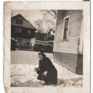 Vintage African American Photo Pretty Woman in Snow Old Black Americana