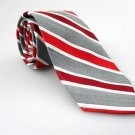 J FERRAR Men's New Tie Red Gray White Stripes Solid NWOT Necktie Ties R0182