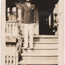 1920s-1930s Sharp-Dressed African-American Man On Steps Old Photo Black People