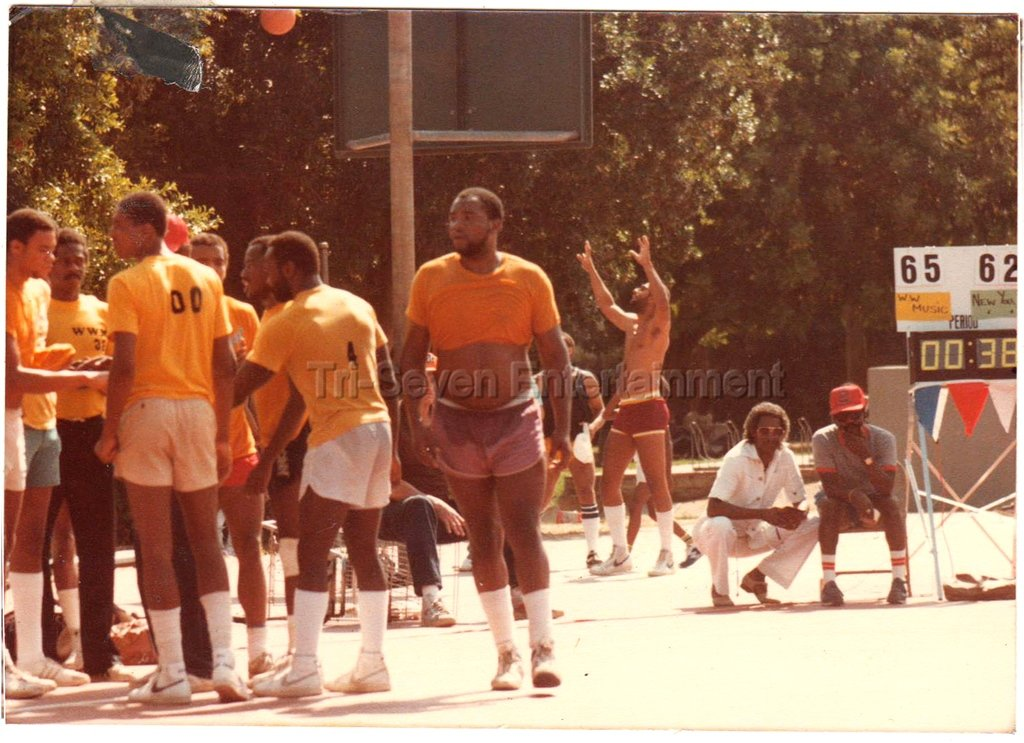 Vintage 1980s Black Men Basketball Team Photo African-American Court Team League