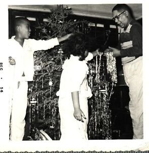 Vintage African American Photo Cute Young Kids Christmas Tree Black Americana