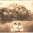 1920-30s Antique Photo of Two African-American Girls on Grass Black Americana