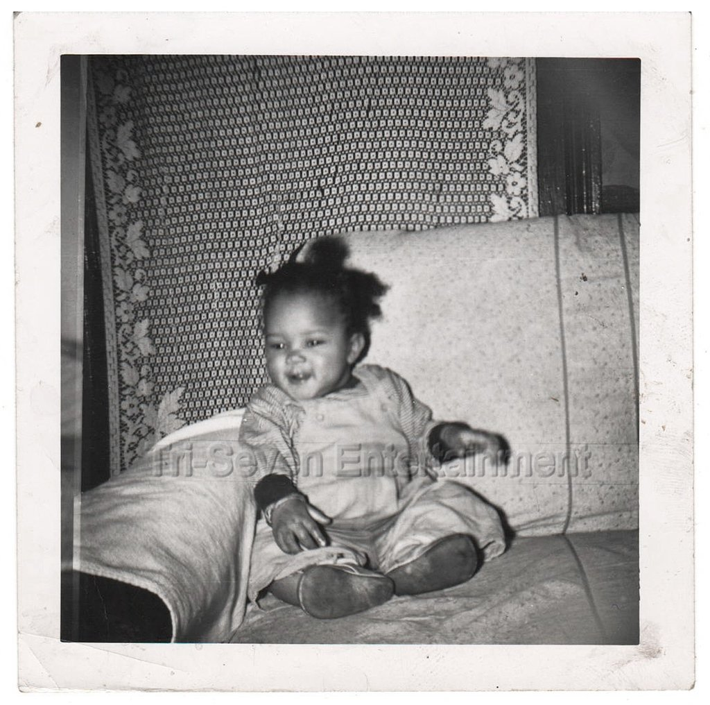 1950s-60s Vintage Adorable African-American Baby Girl on Couch Photo Black Child