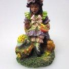 African-American Figurine Cute Girl in Braids Black Americana Poly Resin Statue