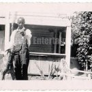 1950s African American Older Man with Great Dane Dog Old Photo Black Americana