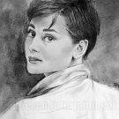 Audrey Hepburn Fine Art Pencil Drawing Portrait 11x17 Signed Print By Kate Orr