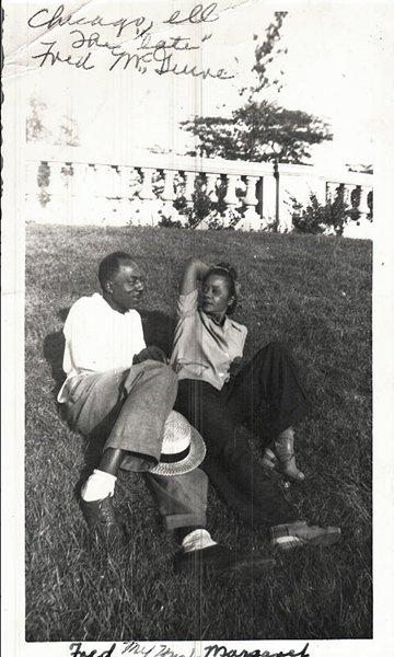 Vintage African American Couple Man Woman Outside Old Photo Black Americana V038
