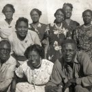 Vintage African American Family Group with White Man Photo Black Americana HS07